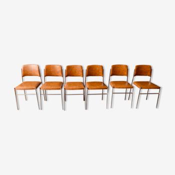 6 chaises marrons simili cuir