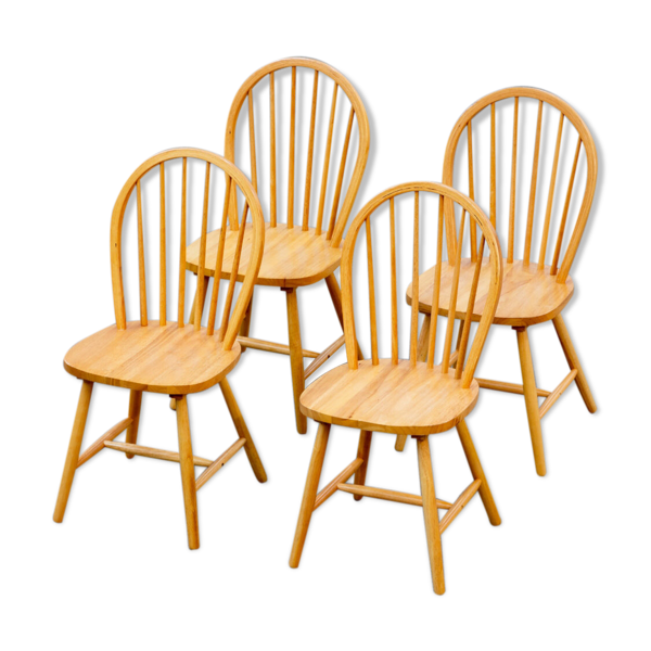 Selency Série de 4 chaises scandinaves à dossier ajouré 1970