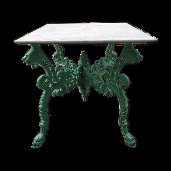 Table verte en fonte avec plateau en marbre