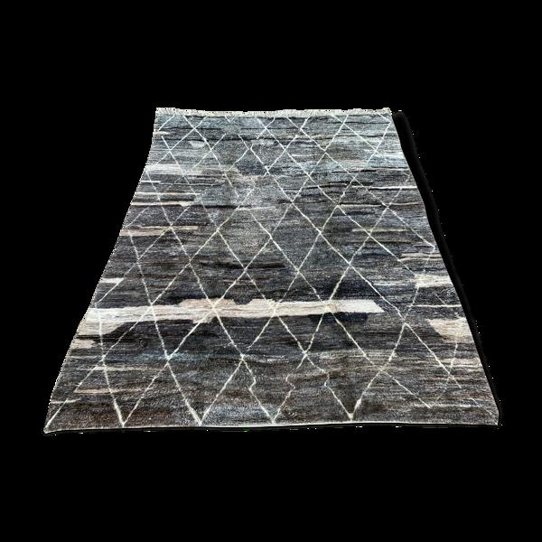 Tapis marocain noir beni ourain 410x310 cm
