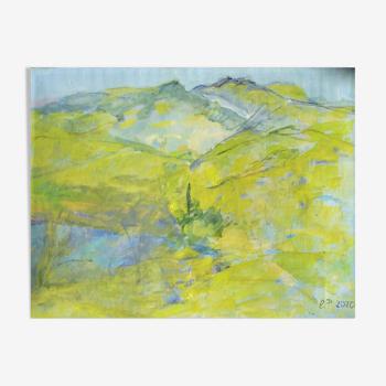 Huile sur toile montée sur chassis représentant un paysage des alpes
