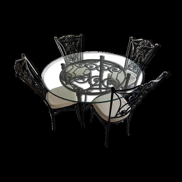 Table et chaises fer forgé et verre