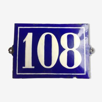 Plaque émaillé ancienne numéro 108