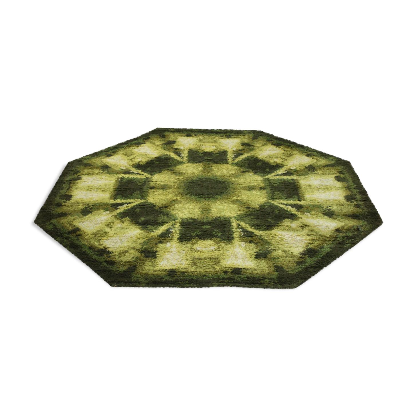 Tapis octogonal en laine décor d'espace vert «Capri» de Louis Depoortere, Belgique années 1970.