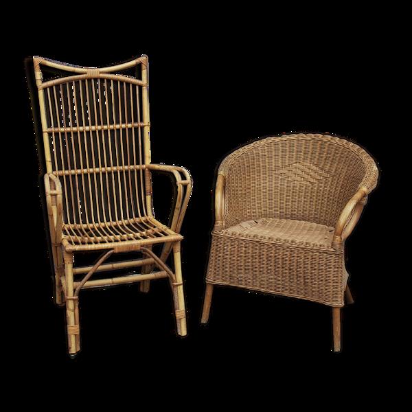 Duo de fauteuils en rotin dépareillées