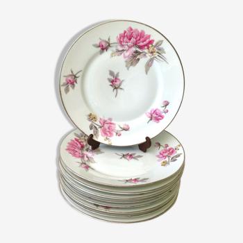 Set de 8 assiettes à dessert pivoines roses