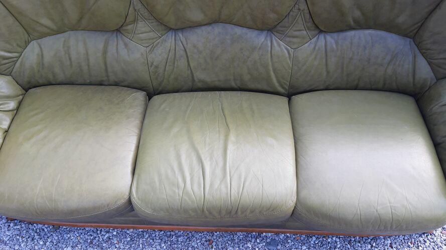 Salon 3 pièces canapé 2 fauteuils en cuir vert et bois