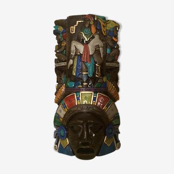 Masque ancien mexicain artisanal peint  à la main