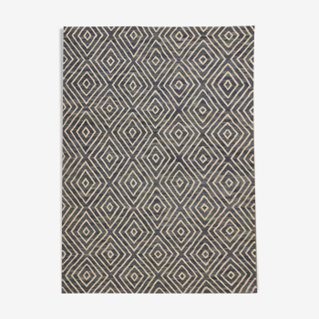 Contemporary Blue Geometric Kilim Handmade Flat-weave Wool Area Rug- 257x292cm