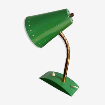 Lampe cocotte verte col de cygne laiton abat-jour perforé d'étoiles