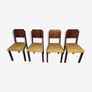 4 chaises Art Déco bois et cuir