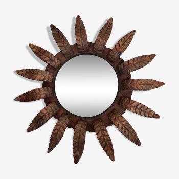 Miroir soleil bois fer 79cm