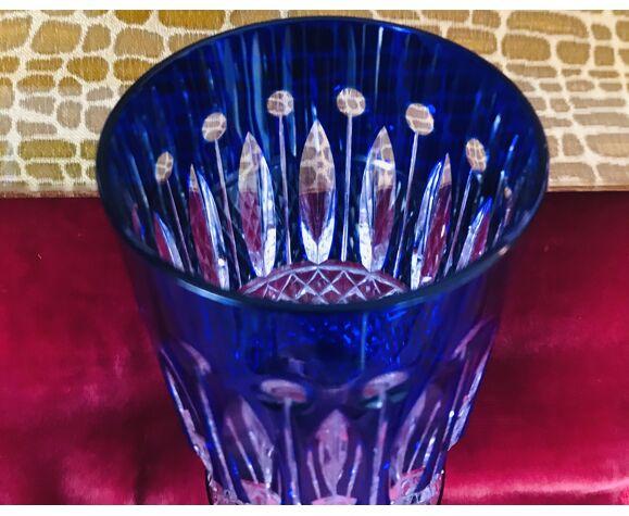 Lot de 12 verres à thé tommy Saint-Louis en cristal et dorures