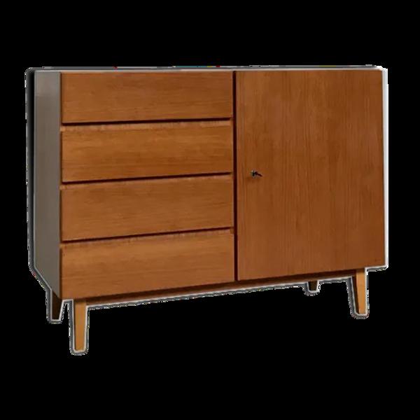 Selency Meuble tv hifi vintage 50/60 style scandinave 4 tiroirs de rangement - teck