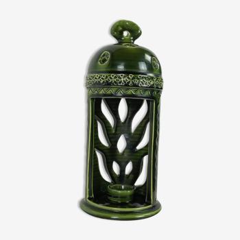Lanterne porte bougie ceramique verte années 1960