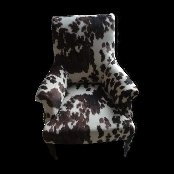 Fauteuil anglais Napoléon III vache