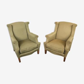 Paire de fauteuils à oreilles vintage 1950 1960 design italy
