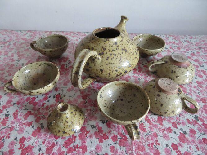 Service à thé en grès vernissé