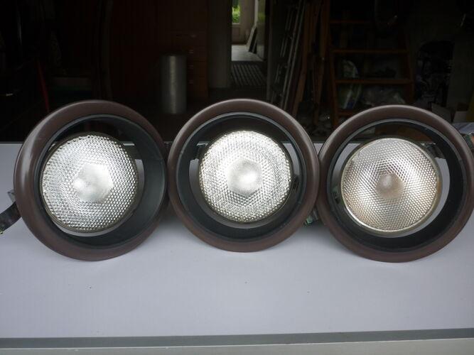 Lot de 3 spots reflecteurs a encastrer vintage
