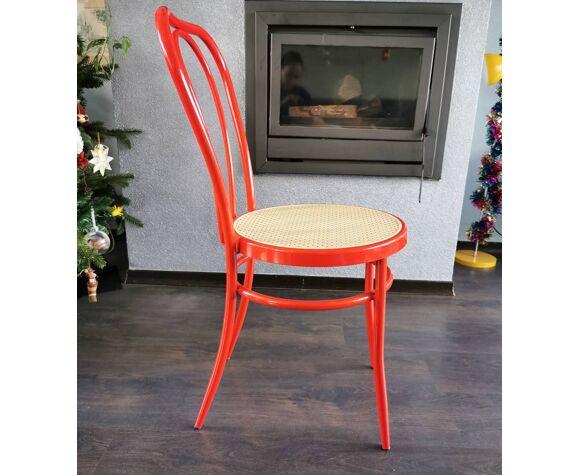 Chaise en métal rouge années 90