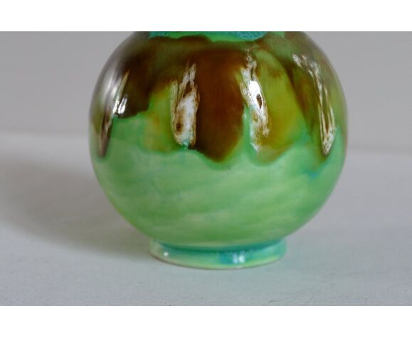 Vase vintage décoratif en céramique vernissé vert et marron