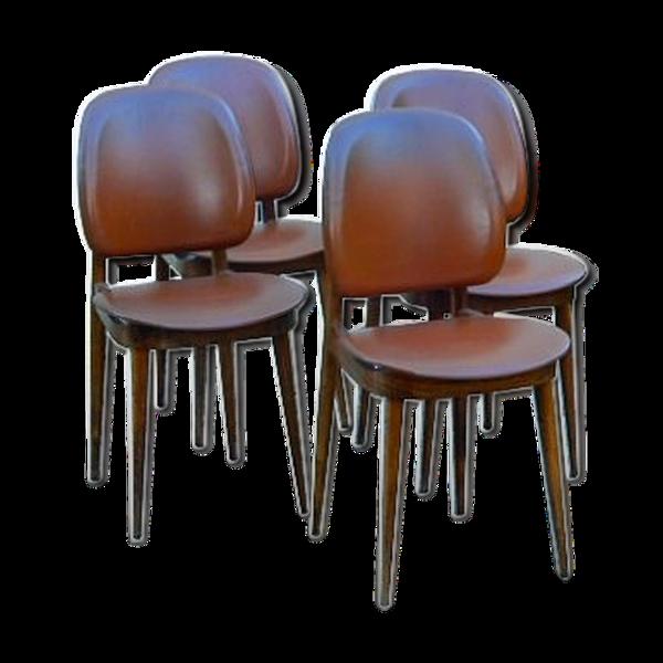 Ensemble de 4 chaises Baumann Pégase vintage 1960