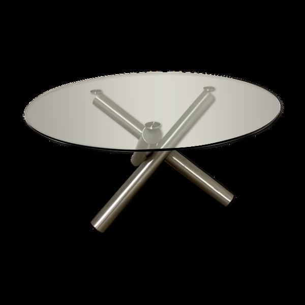 Selency Table ronde verre et pieds inox