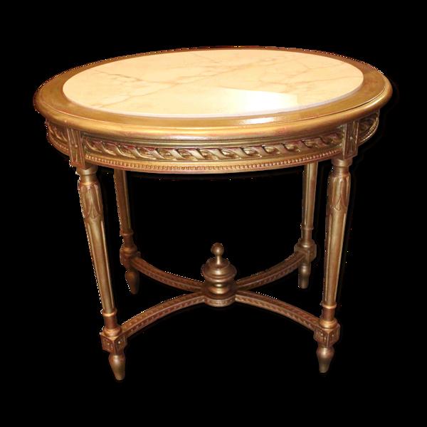 Guéridon de milieu en bois doré de style Louis XVI