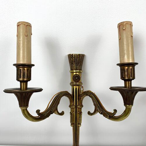 Paire d'appliques bronze doré vieil or Empire Carquois Fleche Lucien Gau Paris