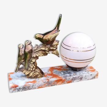Lampe art déco globe et marbre
