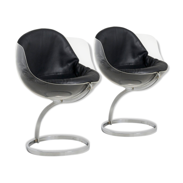 Selency Paire de chaises à manger 'Sphere' de Boris Tabacoff pour Mobilier Modèle Moderne, France - 1971