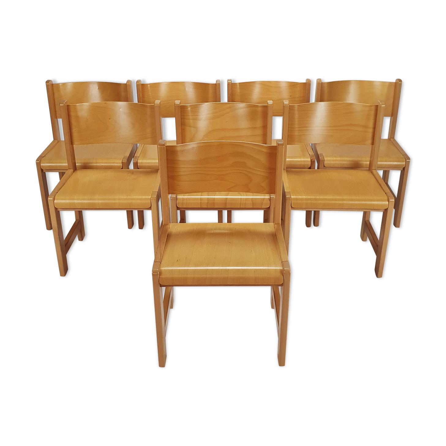 Ensemble de 8 chaises de salle à manger en bouleau, années 1980