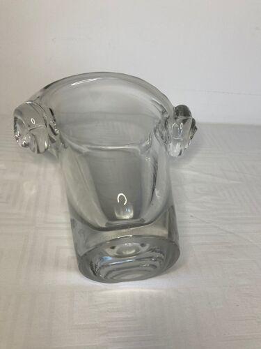 Verrerie vase en cristal moulé Daum signé années 1970