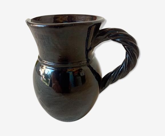Pichet en céramique noire vallauris (france)