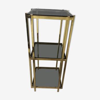 Bout de canapé console en métal doré vintage