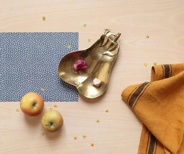 Vide-poche poire en laiton doré