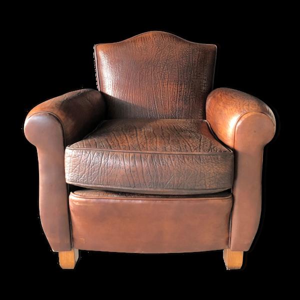 Selency Fauteuil club en cuir basane