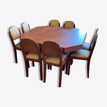 Art Deco table with extension and its 8 chairs