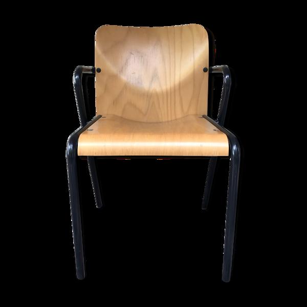 Chaise fauteuil vintage Martin Stoll en bois clair et métal tubulaire laqué noir empilable
