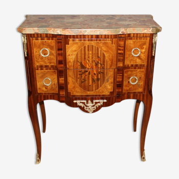 Commode de style Transition en marqueterie vers 1900