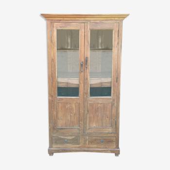 Armoire vitrée en teck ancien, 2 portes et 2 tiroirs