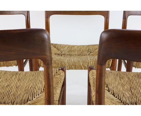 Set de 5 chaises danoises Niels Otto Møller en teck de design danois