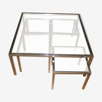 Table basse et ses gigognes en acier et verre vers 1970