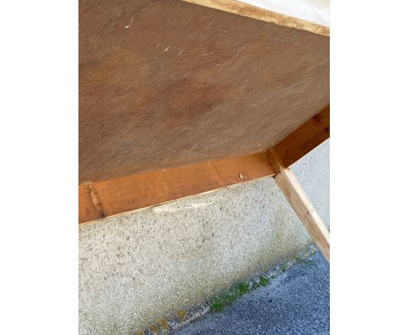 Table plateau patiné noir