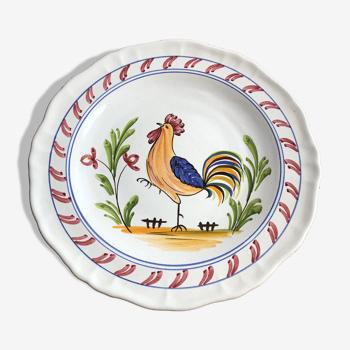 Ancienne assiette déco style quimper france céramique dessin coq vintage