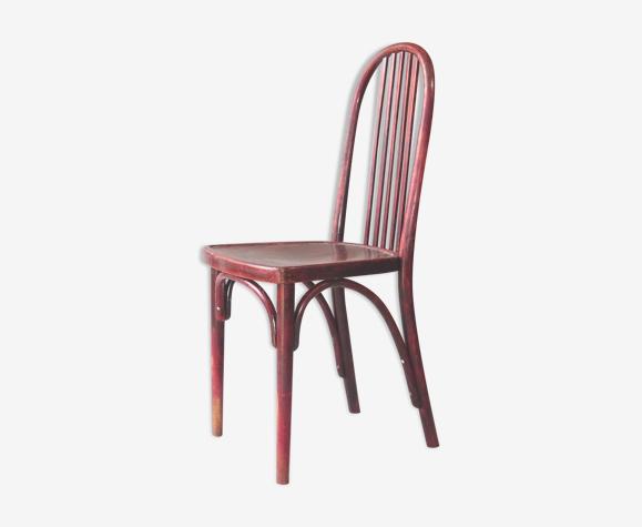 Chaise Thonet bistrot 1925 N°A643 assise bois teinte acajou bois-courbé