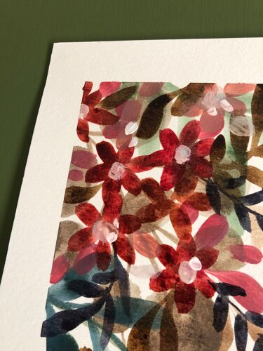 A3 paint on paper Red flowers