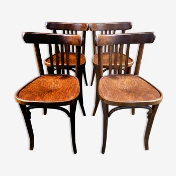 Suite de 4 chaises bistrot bois courbé Baumann