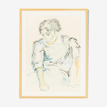 Tableau «Junger sitzender Mann» de Helga Müller