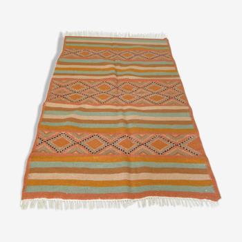 Tapis kilim rug berbère boho motif géométrique ethnique 210x125cm